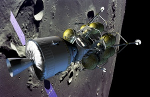 An artist's conception of the proposed Orion spacecraft and Altair lander in lunar orbit.