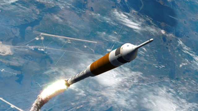 This proposed Ares I launcher with the Orion spacecraft atop is intended to enable, when paired with the larger Ares V heavy lift launcher, astronauts to return to the Moon in the second decade of the 21st century.