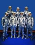 The Mercury 7 astronauts in spacesuits.