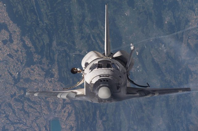 The Space Shuttle taken from the International Space Station.