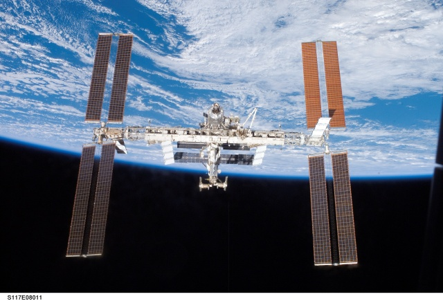 The International Space Station from the Space Shuttle during the STS-117 mission.