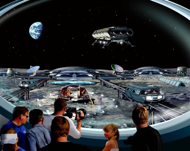 "This artist's conception by Bill Wright captures a possible future lunar tourist moment. Visitors to the ""Tranquility Base Memorial Center"" view the ""Eagle"" spacecraft that first landed humans on the Moon from an observation deck as the activities of the Moonbase take place all around."