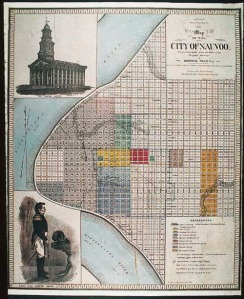 A map of Nauvoo, Illinois, at the time of the Latter-day Saints in the early 1840s.
