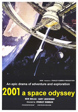 "A post for the ""2001: A Space Odyssey"" film in 1968 showing a Pan Am space shuttle."