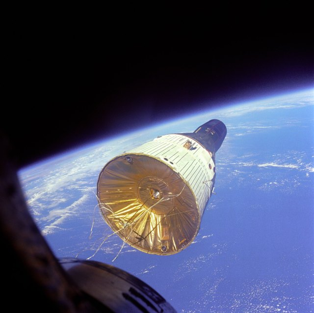 A great image of the Gemini spacecraft from the other Gemini closing in during the rendezvous.