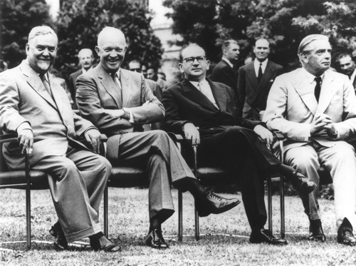 "From left to right: Russian Premier Nikolai Bulganin, United States President Dwight D. Eisenhower, French Premier Edgar Faure, British Prime Minister Sir Anthony Eden at the 1955 Geneva Conference. At this conference Eisenhower put forth the ""Open Skies"" plan."
