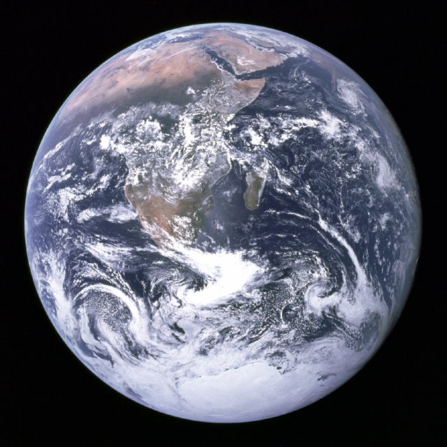 The whole Earth disk taken during the Apollo 17 lunar mission in December 1972.