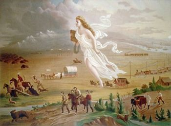 A stunning illustration tieing American westward expansion with destiny and progress.