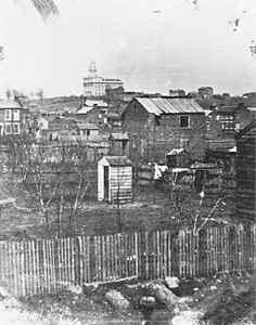 Photograph of Nauvoo in the middle 1840s with the Mormon Temple in the background
