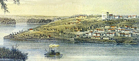 Nauvoo, Illinois, as seen across the Mississippi River from Iowa in the 1840s.