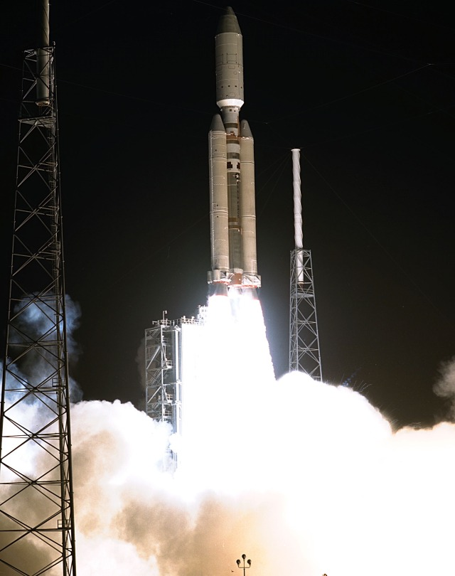 This launch of the Titan IVB/Centaur launch vehicle from the Cape Canaveral Air Station, Florida, started the Cassini orbiter and its attached Huygens probe to Saturn. Launched on October 15, 1997, from Launch Complex 40 it would undertake a 2.2-billion mile journey that included two swingbys of Venus and one of Earth to gain additional velocity, arriving at Saturn in July 2004 where it entered orbit and soft landed Huygens on Titan, one of Saturn's moons.