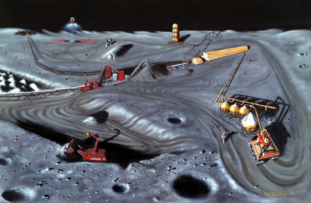 Artist's conception of lunar mining, after 2020, artwork by Pat Rawlings. Many believe that the resource rich Moon may one day sustain human efforts to remain in space indefinitely.