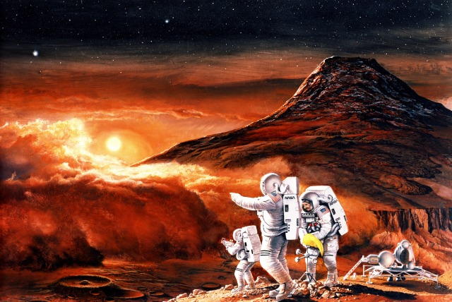 Artist depiction of humans exploring the Martian system, after 2020, by Ren Wicks. Mars advocates would like to dispatch the first expedition before 2020, but the cost and technical complexity of the mission will likely delay it.