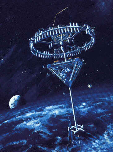 Artist's conception of Shimizu Space Hotel in orbit.