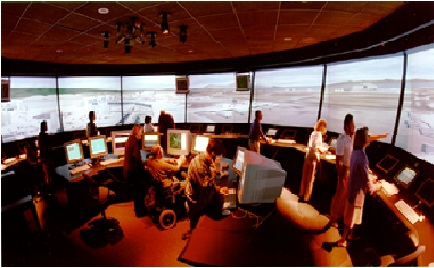 "NASA's ""Future Flight Central,"" the world's first full-scale virtual airport control tower at NASA Ames Research Center, Moffett Field, California. Constructed at a cost of $10 million, the two story facility was jointly funded by NASA and the Federal Aviation Administration (FAA)."