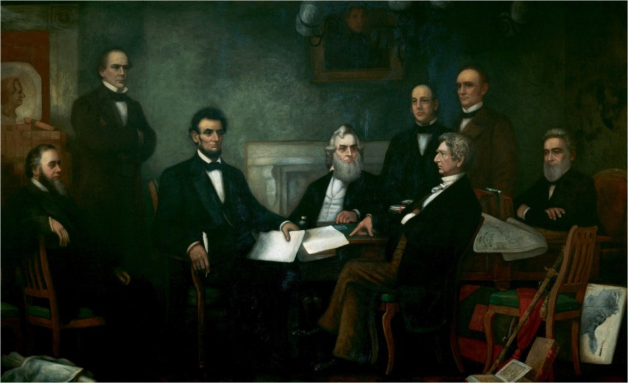 Lincoln and the Cabinet at the time of the signing of the Emancipation Proclamation.