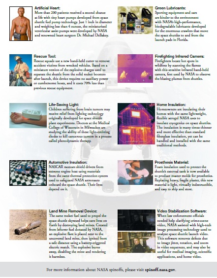 NASA's List of the most significant types of spinoffs from the Space Shuttle program.