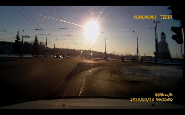 Powerful meteorite explosion in the sky over Chelyabinsk, Russia, February 15, 2013.