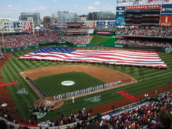 The opening ceremonies of the Washington Nationals and the Miami Marlins.