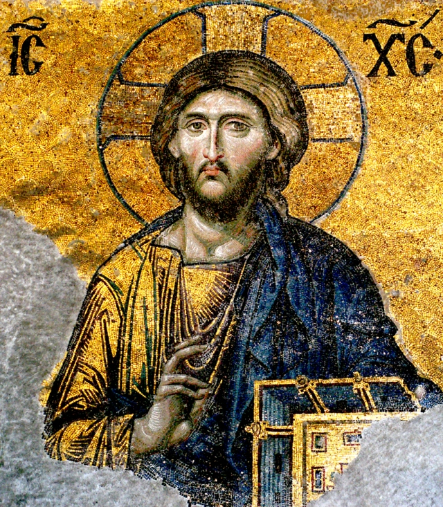 Jesus Christ, detail from Deesis mosaic, Hagia Sophia, Istanbul, Turkey.