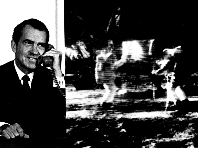 President Nixon talking to the Apollo 11 crew on the Moon, July 20, 1969.