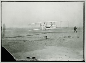 The first flight of the Wright Brothers, December 17, 1903.