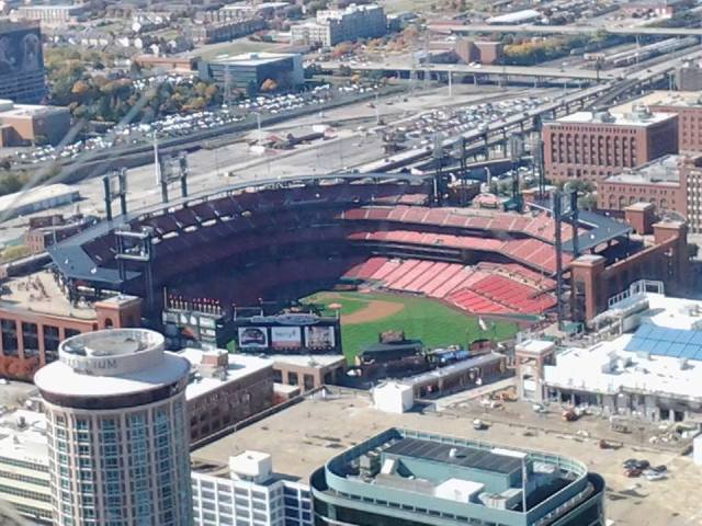 Busch Stadium in St. Louis from the Arch, the Cardinals home field.