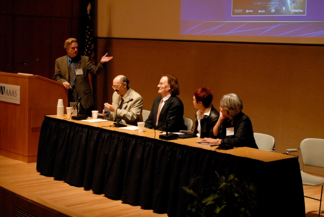 Roger Launius and other panelists at the 2007 Remembering the Space Age Conference.
