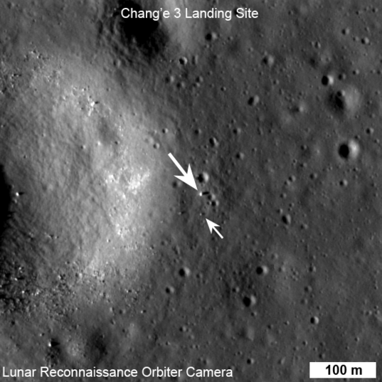 Lunar Reconnaissance Orbiter's sharp eyes spotted the Chang'e 3 lander and Yutu rover on the lunar surface on December 25. The hardware shows up as a few bright pixels throwing long, dark shadows, clearly visible in a before-and-after comparison. The lander is the bigger blob, the rover a much smaller one.