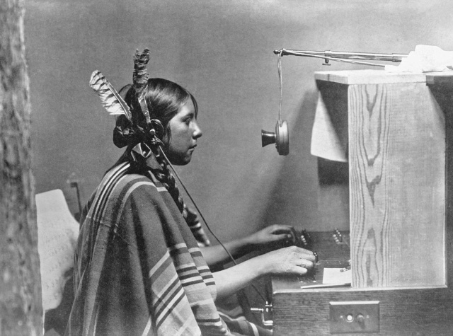 "Female Indian telephone switchboard operator - ""Helen of Many Glacier Hotel."" June 26, 1925"
