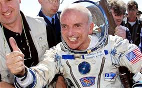 Dennis Tito, an American multimillionaire, becomes the first space tourist, spending 7 days, 22 hours, 4 minutes orbiting Earth.