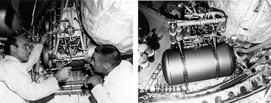 A Polymer Electrolyte Membrane (PEM) fuel cell being installed in a Gemini 7 spacecraft in 1965.