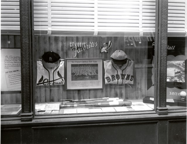 A department store window in downtown St. Louis at the time that the Cardinals played the Browns in the 1944 World Series.
