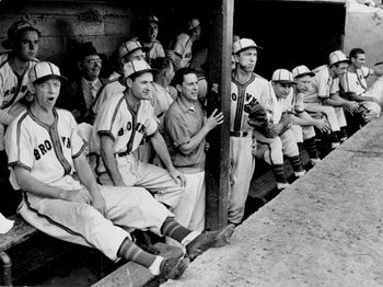 The Browns dugout in the 1940s.