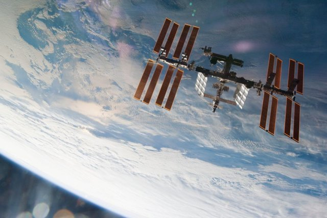 The international Space Station from STS-130 in December 2010.