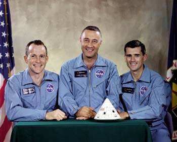 The Apollo 1 vrew: (L-R) Ed White, Guss Grissom, and Roger Chaffee.