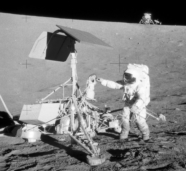Surveyor III was the third lander of the American Surveyor program sent to the surface of the Moon. Launched on April 17, 1967, Surveyor III landed on April 20, 1967, at the Mare Cognitum portion of the Oceanus Procellarum. Here Apollo 12 Astronaut Alan Bean inspects the lander in fall 1969.