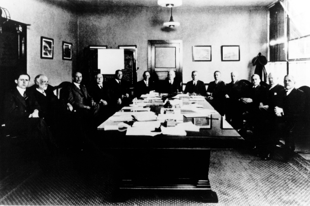 The members of the Main Committee of NACA which met in Washington, D.C. on April 18, 1929. Shown from left to right: John F. Victory, Secretary; Dr. William F.Durand; Dr. Orville Wright; Dr. George K. Burgess; Brig. Gen. William E. Gillmore; Maj. Gen. James E. Fechet; Dr. Joesph S. Ames, Chairman; Rear Adm. David W. Taylor, USN (Ret.), Vice Chairman; Capt. Emory S. Land; Rear Adm. William A. Moffet; Dr. Samual W. Stratton; Dr George W. Lewis, Director of Aeronautical Research; Dr. Charles F. Marvin. Dr. Charles G. Abbot was absent.