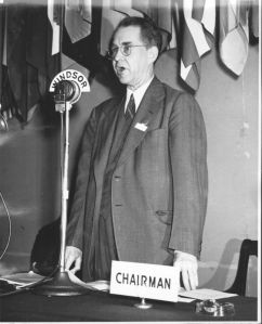 Edward Warner addressing First ICAO Assembly held in Montreal in 1946.
