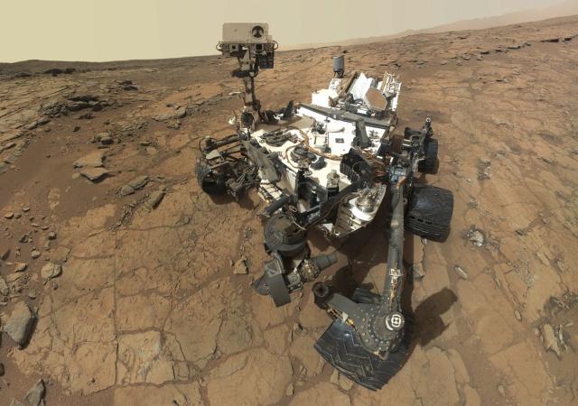This self-portrait of Curiosity combines dozens of images to create this self-portrait on Mars, February 3, 2013.