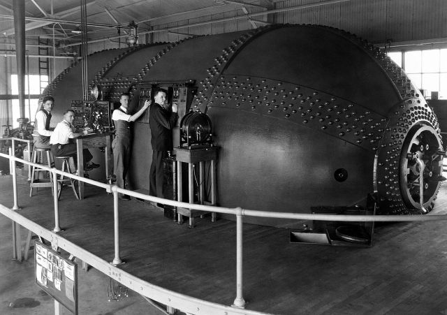 1929 photograph of the Variable Density Tunnel. Left to right: Eastman Jacobs, Shorty Defoe, Malvern Powell, and Harold Turner. In this photo taken on March 15, 1929, a quartet of NACA staff conduct tests on airfoils in the Variable Density Tunnel, which was declared a National Historic Landmark in 1985.