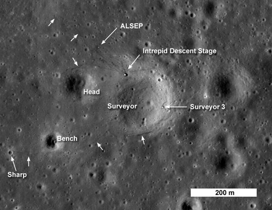 This image from LRO shows the spacecraft's first look at the Apollo 12 landing site. The Intrepid lunar module descent stage, experiment package (ALSEP) and Surveyor 3 spacecraft are all visible. Astronaut footpaths are marked with unlabeled arrows. This image is 824 meters (about 900 yards) wide. The top of the image faces North. Credit: NASA/Goddard Space Flight Center/Arizona State University Read more at: http://phys.org/news171215857.html#jCp