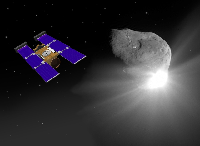 Artist conception of Stardust encountering Comet Wild 2.