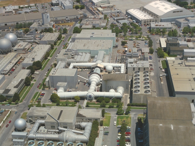 Aerial view of the Unitary Wind Tunnel Plan at NASA Ames.