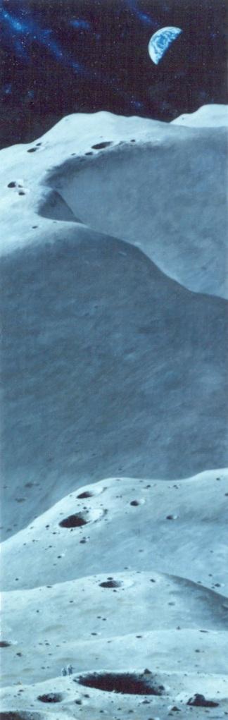"""艺术家皮埃尔·米昂(PierreMion)1979年的一幅题为""""宇航员探索月球""""的油画,描绘了月球表面巨大的环形山和山脉。"""