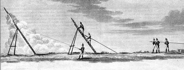 This illustration shows the manner in which the Congreve rocket could be deployed by soldiers on the battlefield.