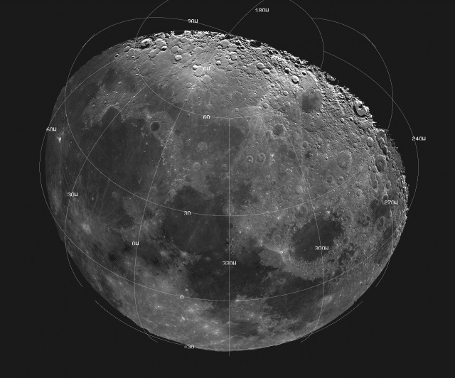 This mosaic picture of the Moon was compiled from 18 images taken with a green filter by the Galileo spacecraft's imaging system during its flyby on December 7, 1992. The north polar region is near the top part of the mosaic, which also shows Mare Imbrium, the dark area on the left; Mare Serenitatis at center; and Mare Crisium, the circular dark area to the right. Bright crater rim and ray deposits are from Copernicus, an impact crater 96 kilometers (60 miles) in diameter.