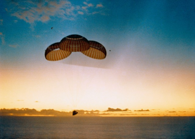 Apollo spacecraft returning to Earth.