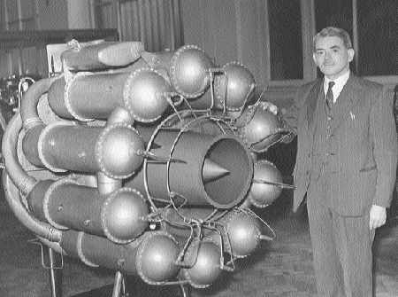 Frank Whittle and his  prototype jet engine.