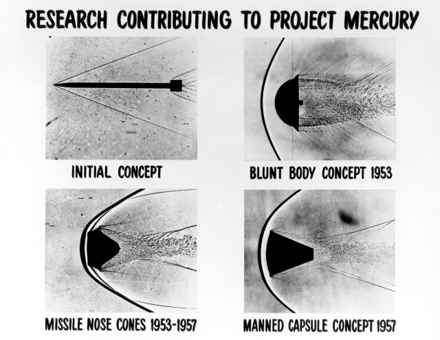 These four shadowgraph images represent early re-entry vehicle concepts. A shadowgraph is a process that makes visible the disturbances that occur in a fluid flow at high velocity, in which light passing through a flowing fluid is refracted by the density gradients in the fluid resulting in bright and dark areas on a screen placed behind the fluid.H. Julian Allen pioneered and developed the Blunt Body Theory which made possible the heat shield designs that were embodied in the Mercury, Gemini and Apollo space capsules, enabling astronauts to survive the firey re-entry into Earth's atmosphere. A blunt body produces a shockwave in front of the vehicle--visible in the photo--that actually shields the vehicle from excessive heating. As a result, blunt body vehicles can stay cooler than pointy, low drag vehicles.